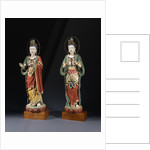 A Pair of Rare Monumental Painted Stucco Figures of Bodhisattvas. Yuan / Ming Dynasty by Corbis