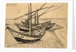 Fishing Boats on the Beach at Saintes-Maries-de-la-Mer by Vincent Van Gogh
