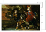 Portrait of a Young Boy Wearing Classical Dress and His Brother Seated on a Goat in an Extensive Landscape by Christoffel Pierson