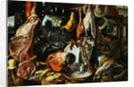 A Butchers Stall with the Holy Family Giving Alms on the Flight into Egypt by Peter Aertsen