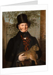Portrait of Edward Cross Holding a Lion Cub by Jacques- Laurent Agasse