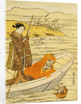 Daruma Shaving in a Boat, Watching His Reflection in the Stream, a Beauty Poling the Boat by Harunobu