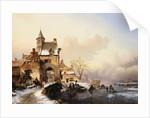 Figures Crossing a Bridge by Frederick Marianus Kruseman