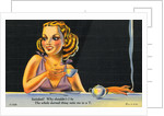 Cartoon of Woman Drinking Tea by Corbis
