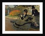 Camille Monet on a Garden Bench by Claude Monet