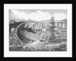 Engraving of a Ship Launch at the Chatham Royal Dockyard by Corbis
