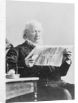 Horace Greeley Reading New York Sun Newspaper by Corbis