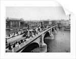 Pedestrians and Vehicles Crossing Bridge by Corbis