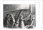 Drawing of Young Child and Women Laborers in Twine Factory by Corbis