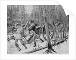 French Troops with canon Fighting Indians in Woodlands by Corbis