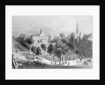 19th-Century Print of City Hall Park in Lower Manhattan by Corbis