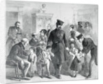 Illustration of Police and Official with Beggars of the Street by Corbis