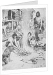 Prehistoric Family Surrounding Fire by Corbis