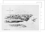 Illustration Showing Jamestown Colony Buildings by Corbis