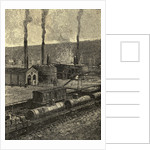 Engraving of Oil Refinery with Tank Cars by Corbis
