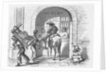 Man on Horse Alongside Beggar Vendor and Pedestrian by Corbis