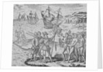 Christopher Columbus and His Men at Haiti by Corbis