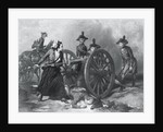 Engraving of Molly Pitcher Loading Cannon at the Battle of Monmouth by Corbis