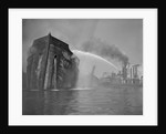 Fireboat Dousing Wooden Ship by Corbis