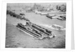 Tug Boat Pulling Two Barges by Corbis