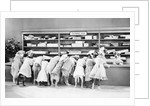 Dogs Dressed As Women At Exchange Desk by Corbis