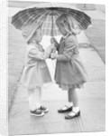 Girls Sharing an Umbrella by Corbis