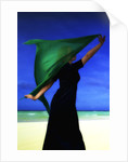 Woman on the beach with green scarf by Ricardo Demurez