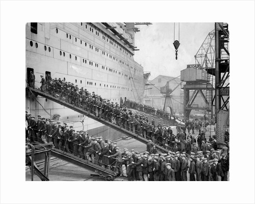 Workers board the Queen Mary by Associated Newspapers