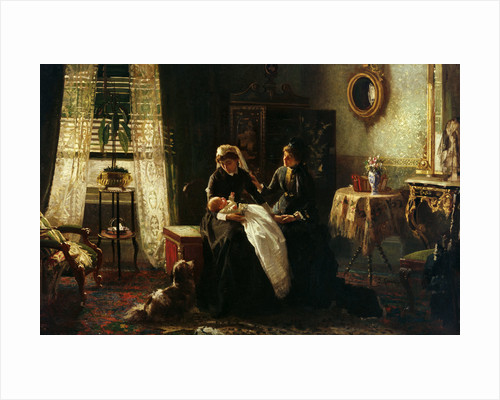 A domestic interior with two women wearing black, one holding a baby', also known as 'Maternal Advice' by A. M. Rossi