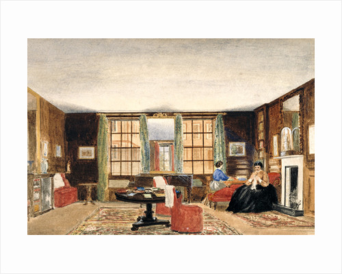 A drawing room with two seated women by Anonymous