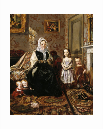Group portrait of Henry Clark's mother-in-law, Mrs Davies, and four of his children in the drawing room of his home, 186 High Street, Homerton by William Holman Hunt