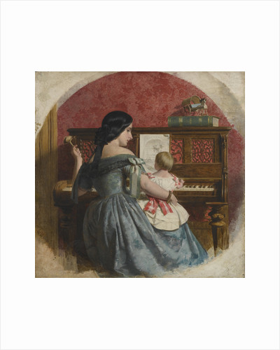 Domestic interior with a mother and child seated at a piano by Charles West Cope