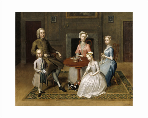 Group portrait, possibly of the Brewster family, in a domestic interior by Thomas Bardwell