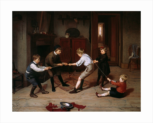 A group of children playing at tug of war in a domestic interior by Harry Brooker