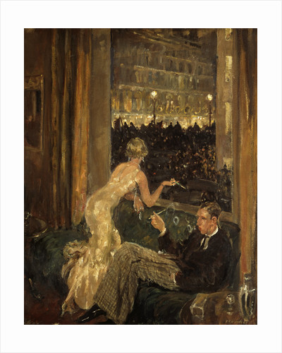 View of an interior with a couple watching the arrival of the Jarrow Marchers in London through a window by Thomas Cantrell Dugdale
