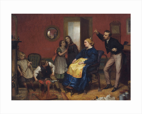 Scene in a domestic interior with children watching as a woman is treated using an electrotherapeutic machine by David Henry Friston