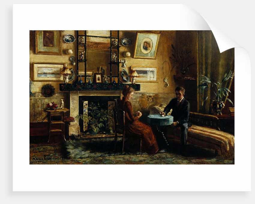 Interior with a couple playing cards by Nancy A. Sabine Pasley