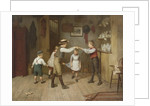 A group of children playing the game oranges and lemons in a domestic interior by Harry Brooker