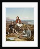 Group portrait of Florence, Arthur and Charles Moore on a sea-shore by William Crosby