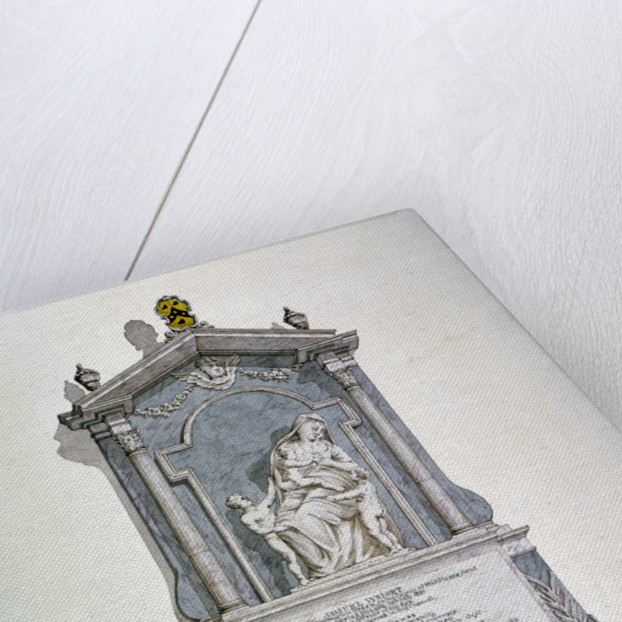 Monument to Samuel Wright, from the north wall of St Alfege's Church, London Wall, London by Robert Blemmell Schnebbelie