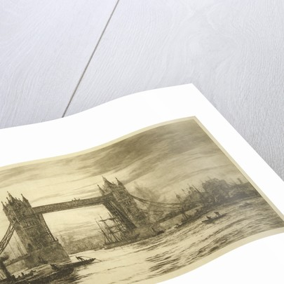 Tower Bridge viewed from the River Thames, London by William Lionel Wyllie