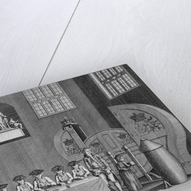 Drawing of the state lottery in the Guildhall, City of London by