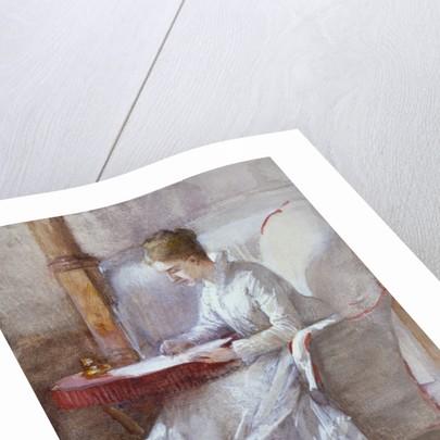 A Woman in White Writing at a Desk by Anna Lea Merritt
