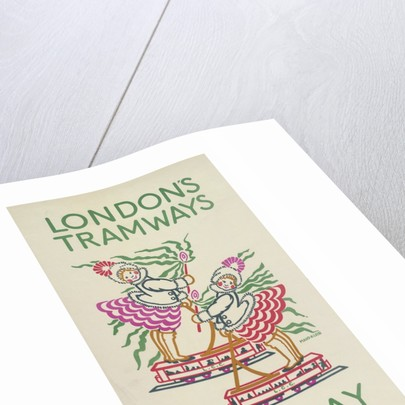 Our Way to the Party, London County Council (LCC) Tramways poster by Maud Klein