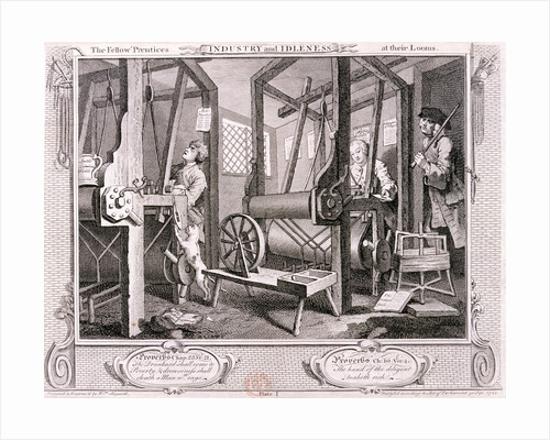 The fellow 'prentices at their looms', plate I of Industry and Idleness by William Hogarth