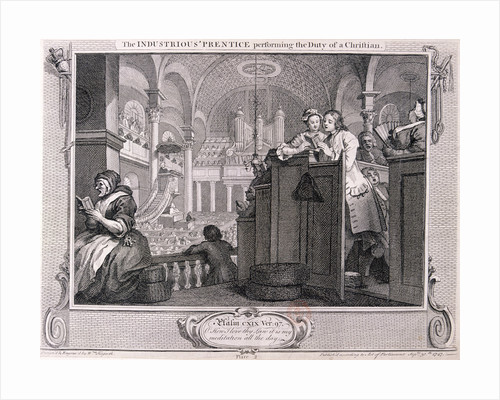 The industrious 'prentice performing the duty of a christian', from Industry and Idleness 1747 by Anonymous
