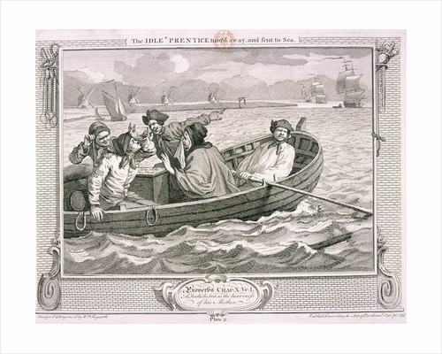 The idle 'prentice turn'd away and sent to sea', plate V of Industry and Idleness by S Davenport