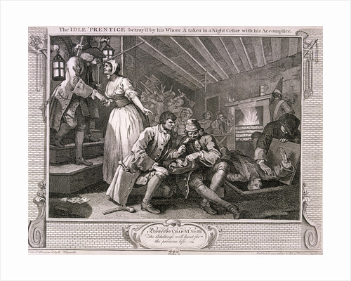 The idle 'prentice betray'd by his whore ...', plate IX of Industry and Idleness by William Hogarth