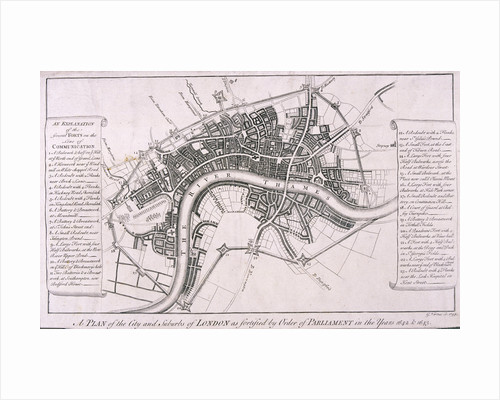 Map of London showing English Civil War Fortifications, c1642 by George Vertue