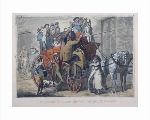 Brighton Coach leaving th Belle Sauvage Inn, London by Anonymous